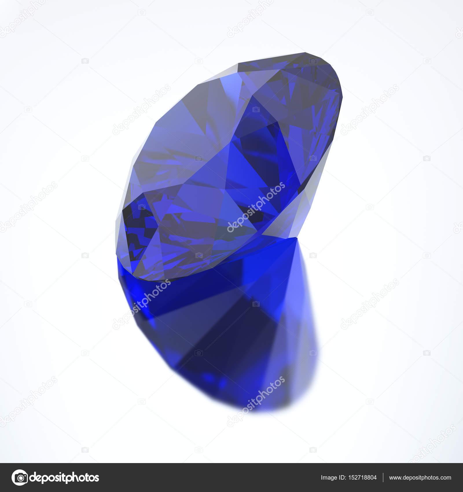 1f6791f39 3D-s illusztráció gyémánt Kék zafír tükörképe — Stock Fotó ...