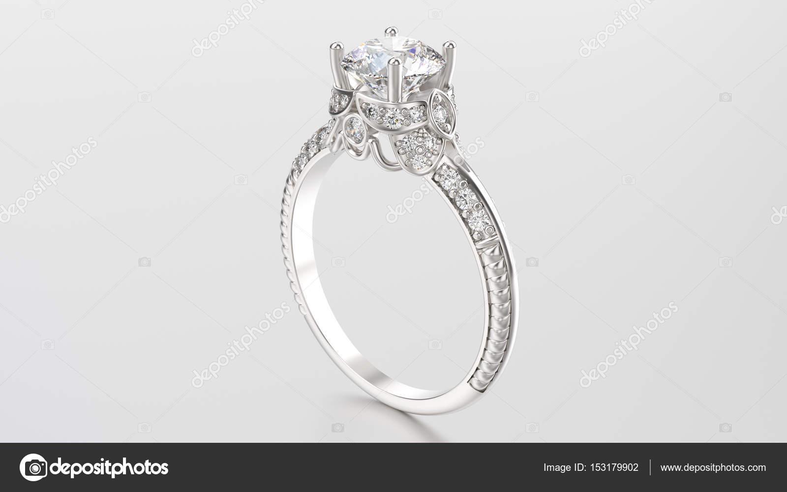 3D ілюстрація золота Срібна каблучка з діамантів на сірий фон — Фото від  3djewelry 6a6492e770f5e