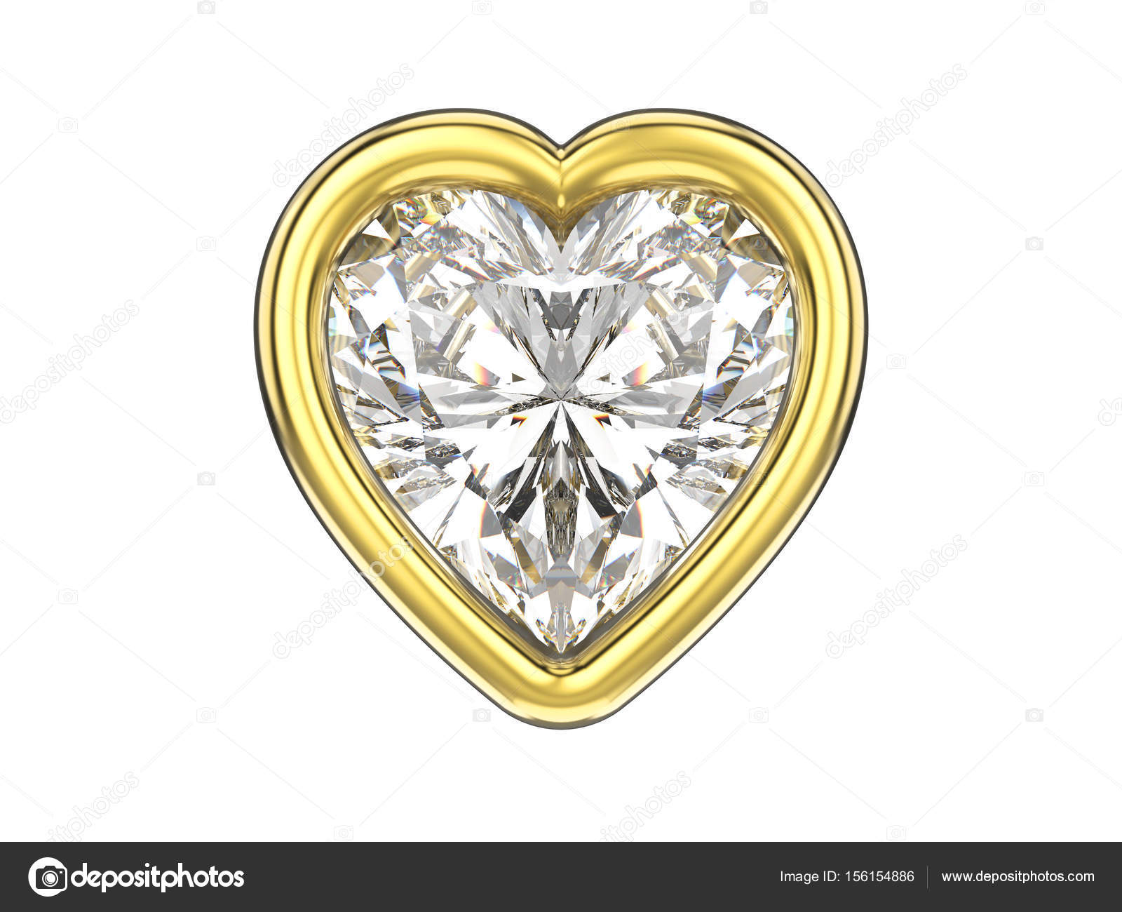 corazón de diamante de 3D ilustración aislada en marco de oro ...