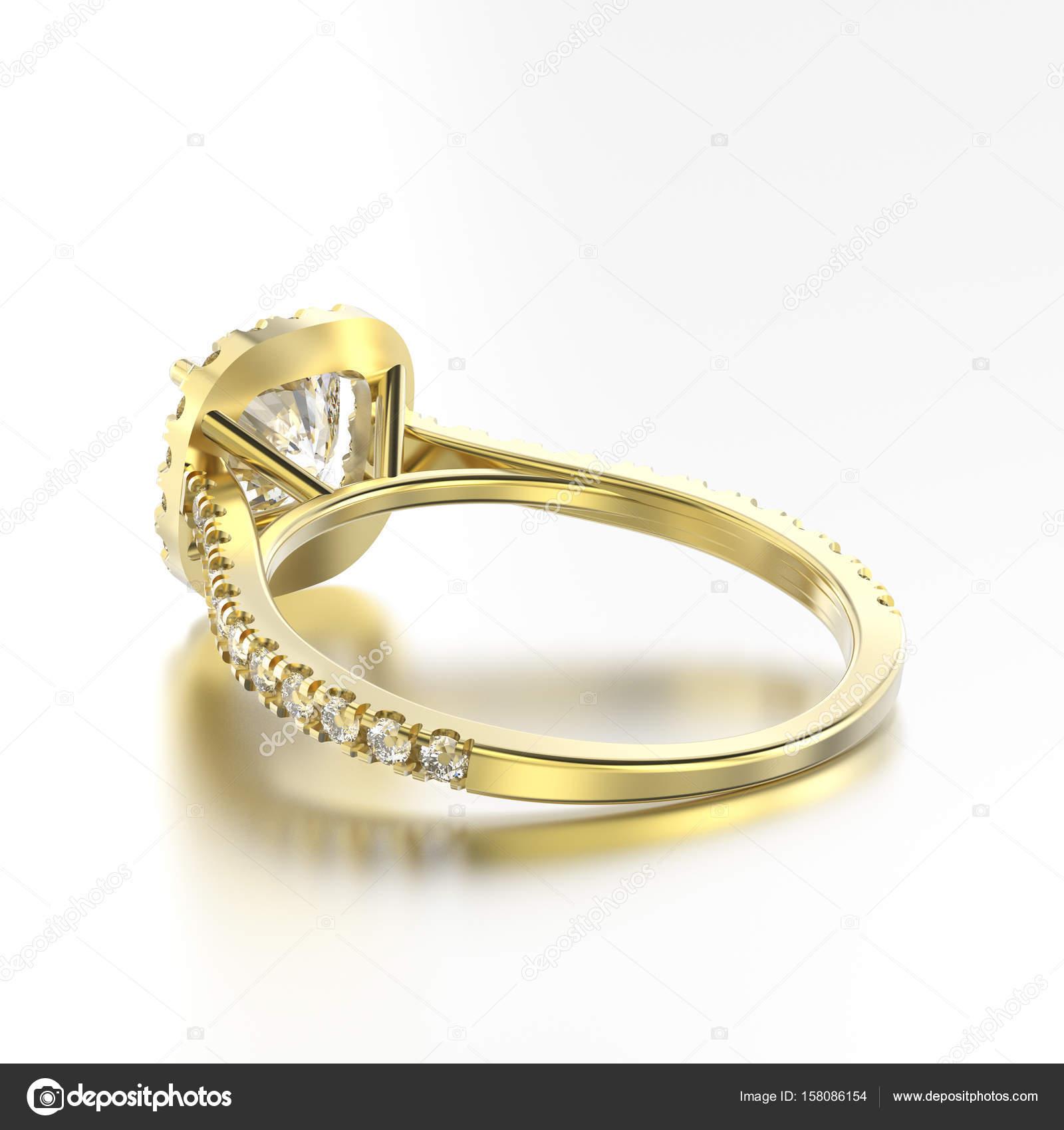 3D ілюстрація жовтого золота каблучка з діамантами назад з видом на роздуми  про сірий фон — Фото від 3djewelry b7ca1bb804766