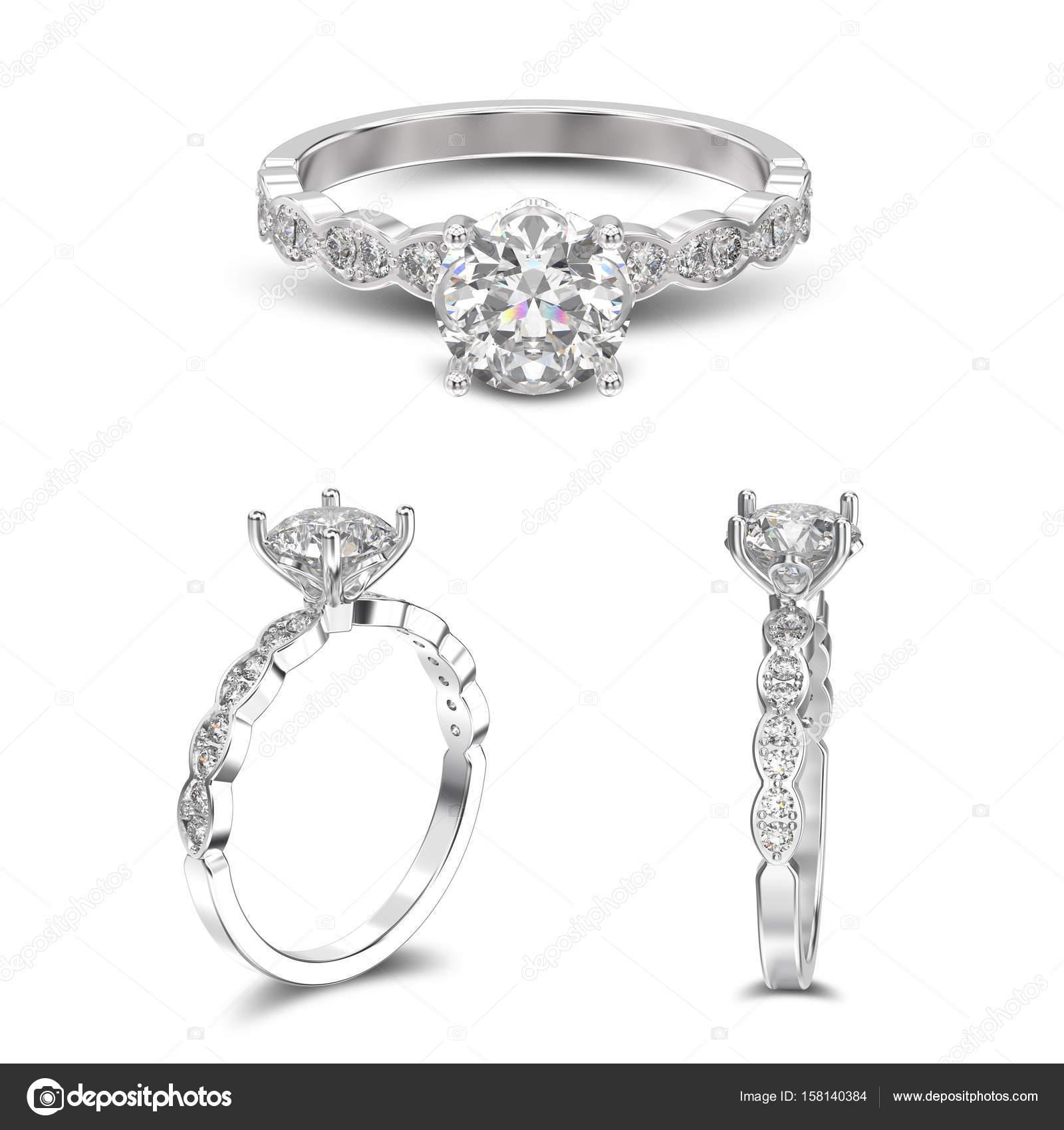 3D ілюстрації три вид на білого золота або Срібна каблучка з ромбами з  тінню на білому фоні — Фото від 3djewelry d02e89bc08992