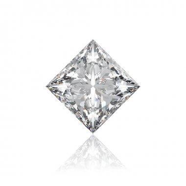 3D illustration closeup princes  rhombus diamond on a white back