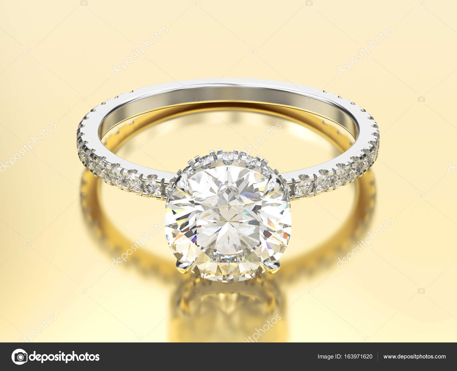 3d Abbildung Weissgold Oder Silber Traditionelle Verlobungsring
