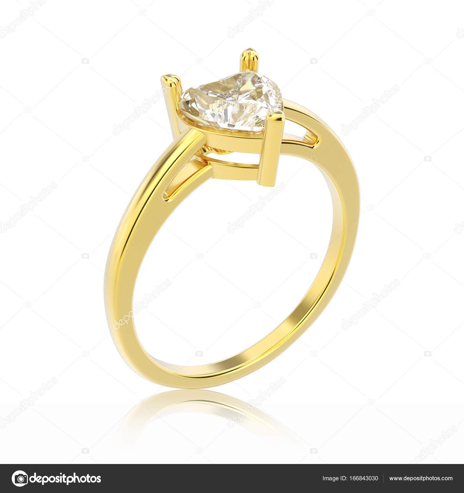 3 D イラスト分離された黄色の金の婚約指輪ダイヤモンドを ストック