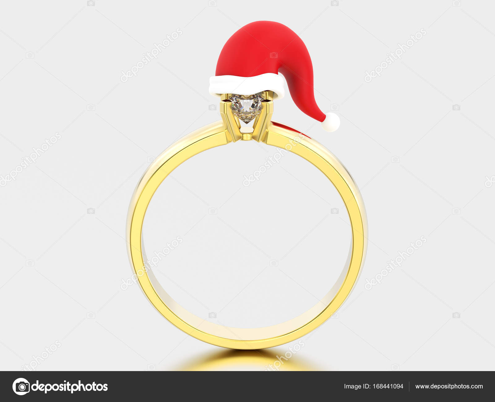 3d Ilustracja żółty Złoty Pierścionek Zaręczynowy Z Akwamarynem