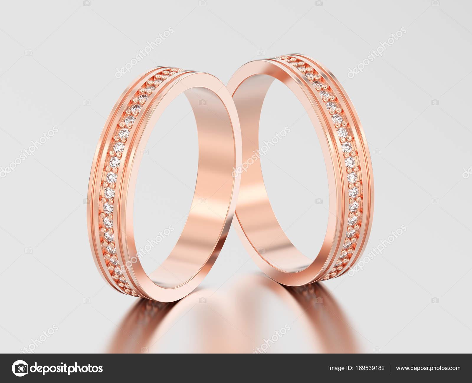 3d Obrazek Dve Ruzove Zlato Zasnubni Snubni Prsten Diamant Ri