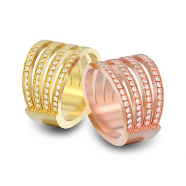 3D illustration two different yellow and white gold or silver fo