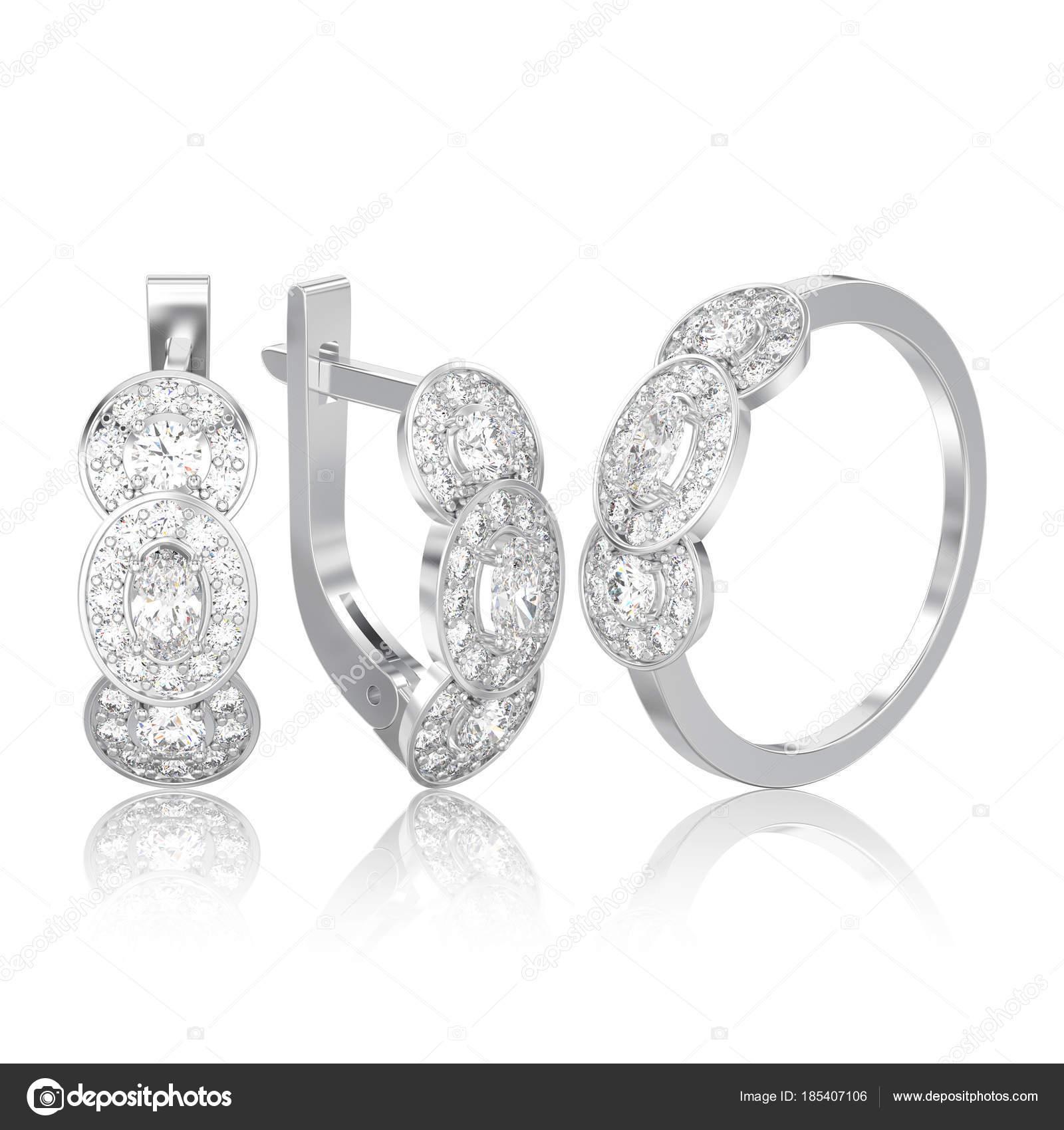 840ff8d9b9d3 3D иллюстрации изолированные набор декоративной бриллиантовые серьги белого  золота или серебра с навесным замком и три каменный пасьянс обручальное  кольцо с ...