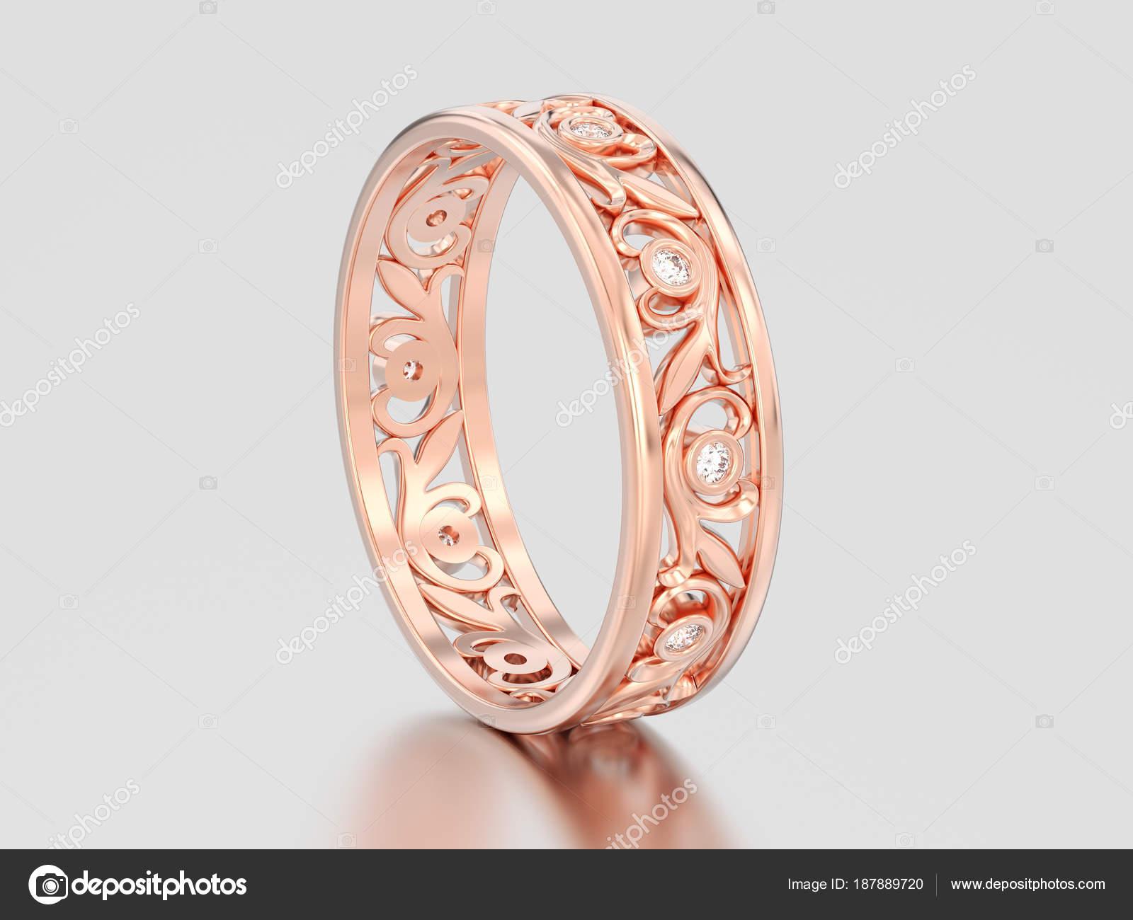 3d Obrazek Ruze Zlata Odpovidajici Pary Snubni Prsten S Diamantem