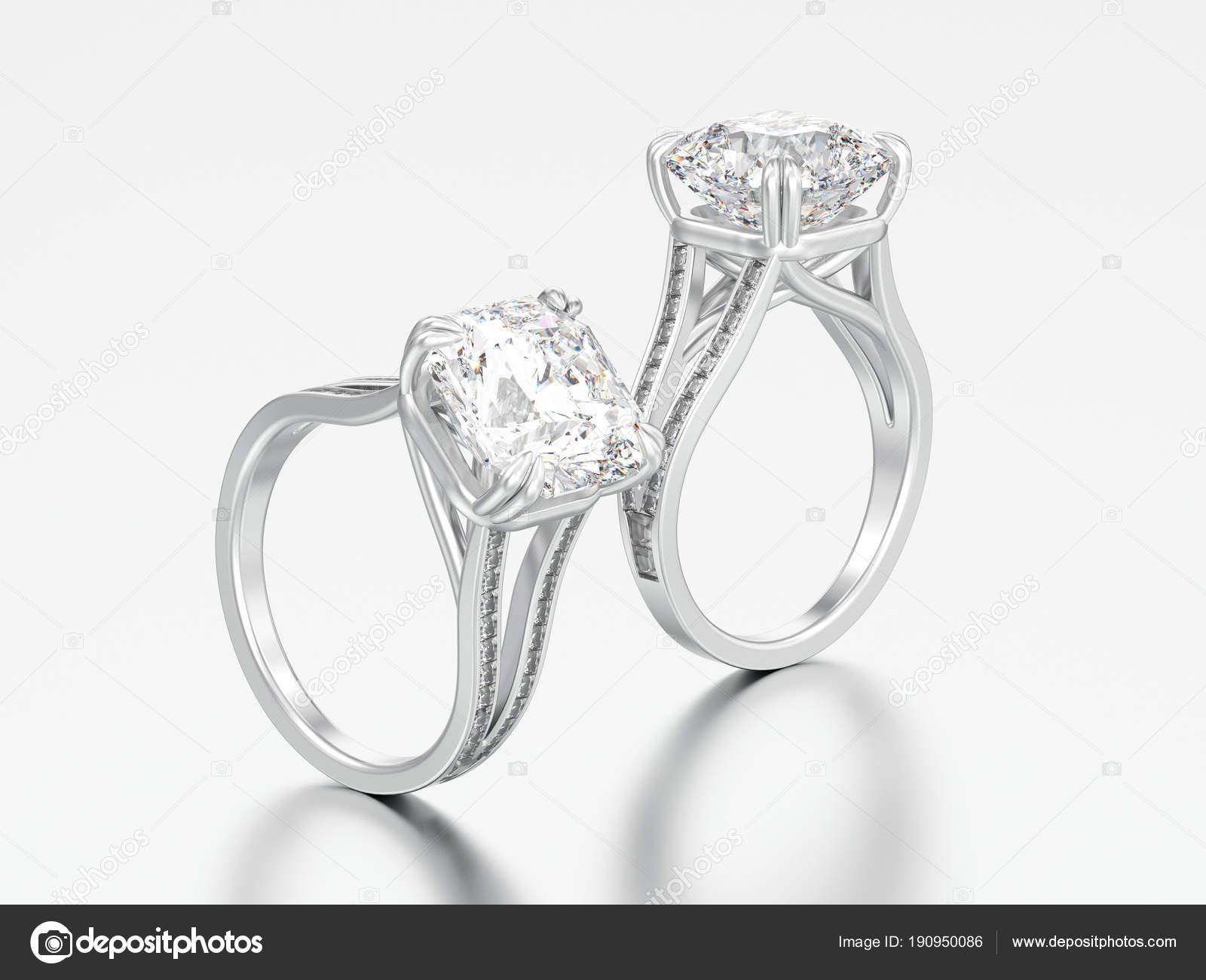 3d Abbildung Zwei Weisse Gold Oder Silber Diamant Verlobungsring