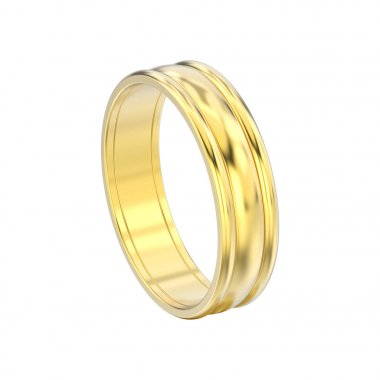 3D illustration isolated yellow gold matching couples wedding ri