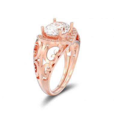 3D illustration isolated rose gold decorative engagement diamond