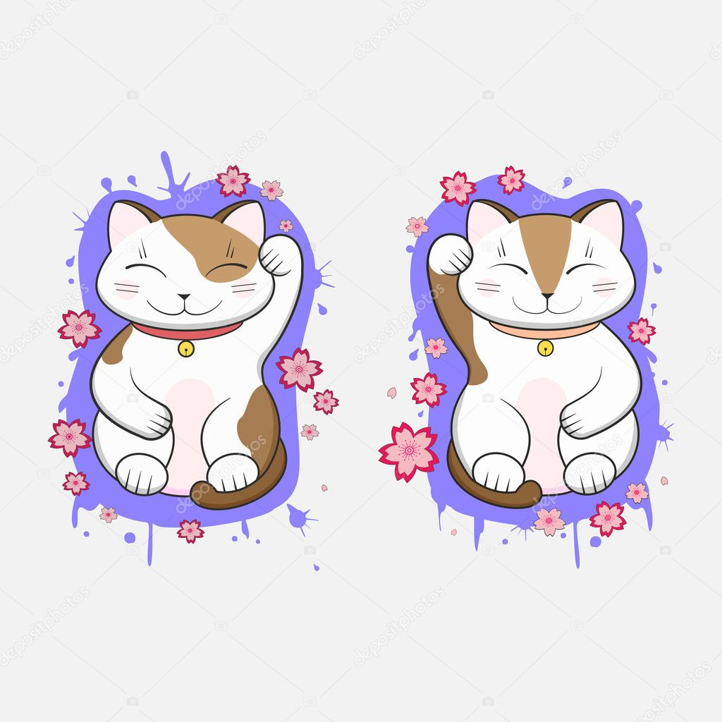 Maneki Neko Lucky Japanese Culture Fortune Symbol Cats Set Stock