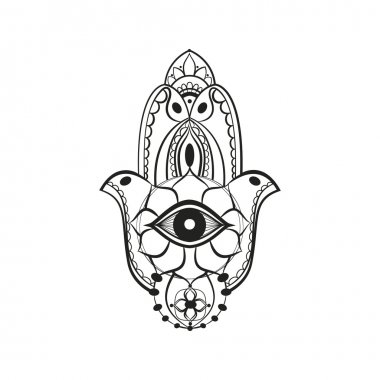 Black hamsa Fatima hand protection symbol on white background clip art vector