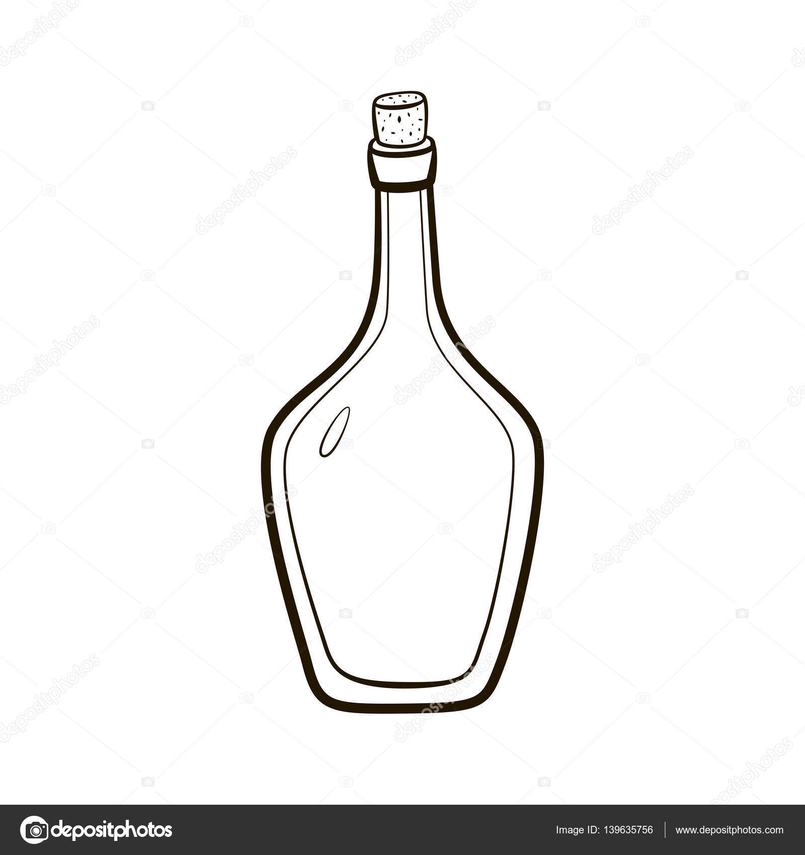 Empty Vintage Bottle Icon Hand Drawing Contour Illustration On White Background Stock Vector
