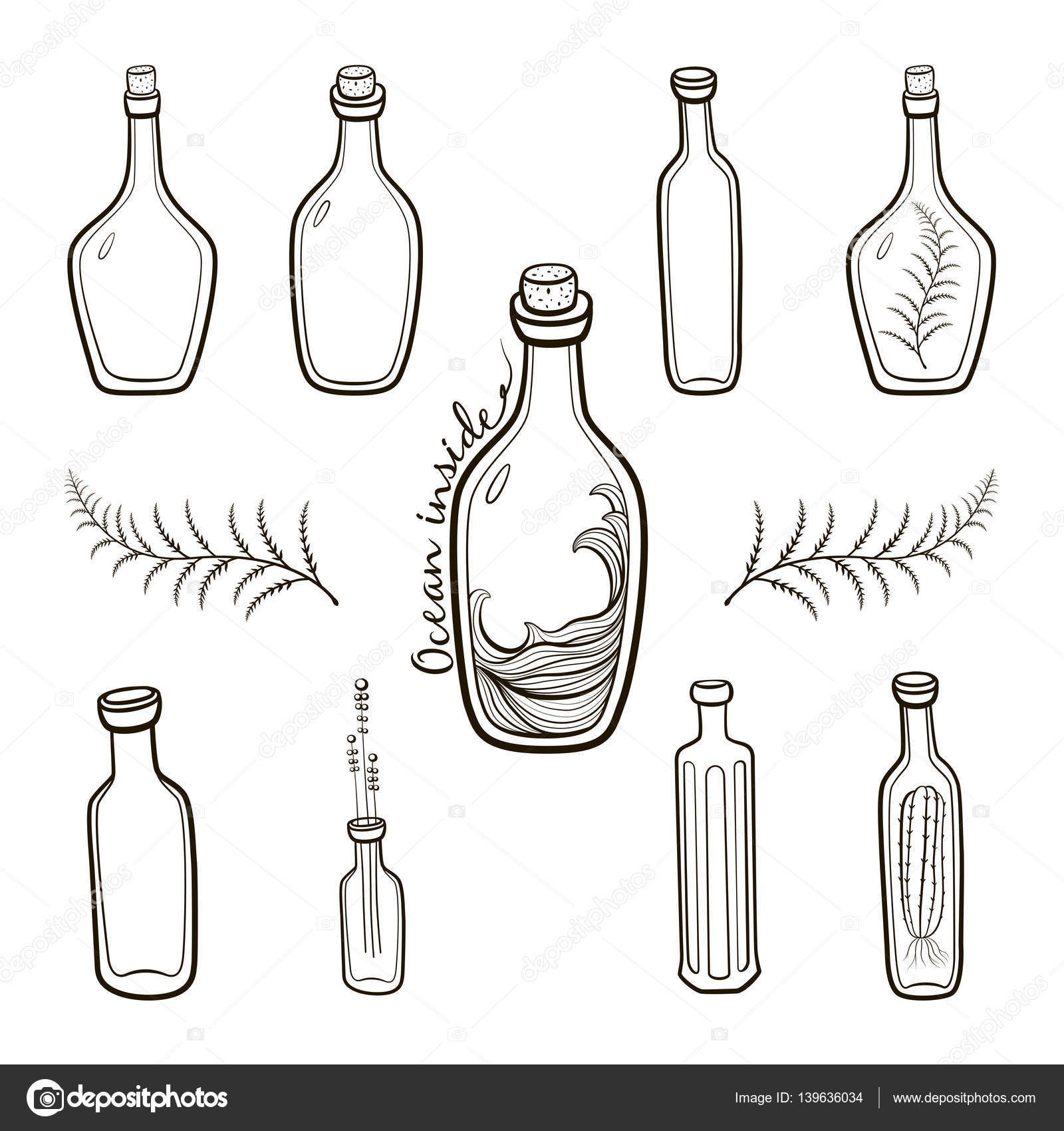 Old Fashioned Vintage Bottles Set Hand Drawing Countour Illustration On White Background Vector By Antyfifagmail