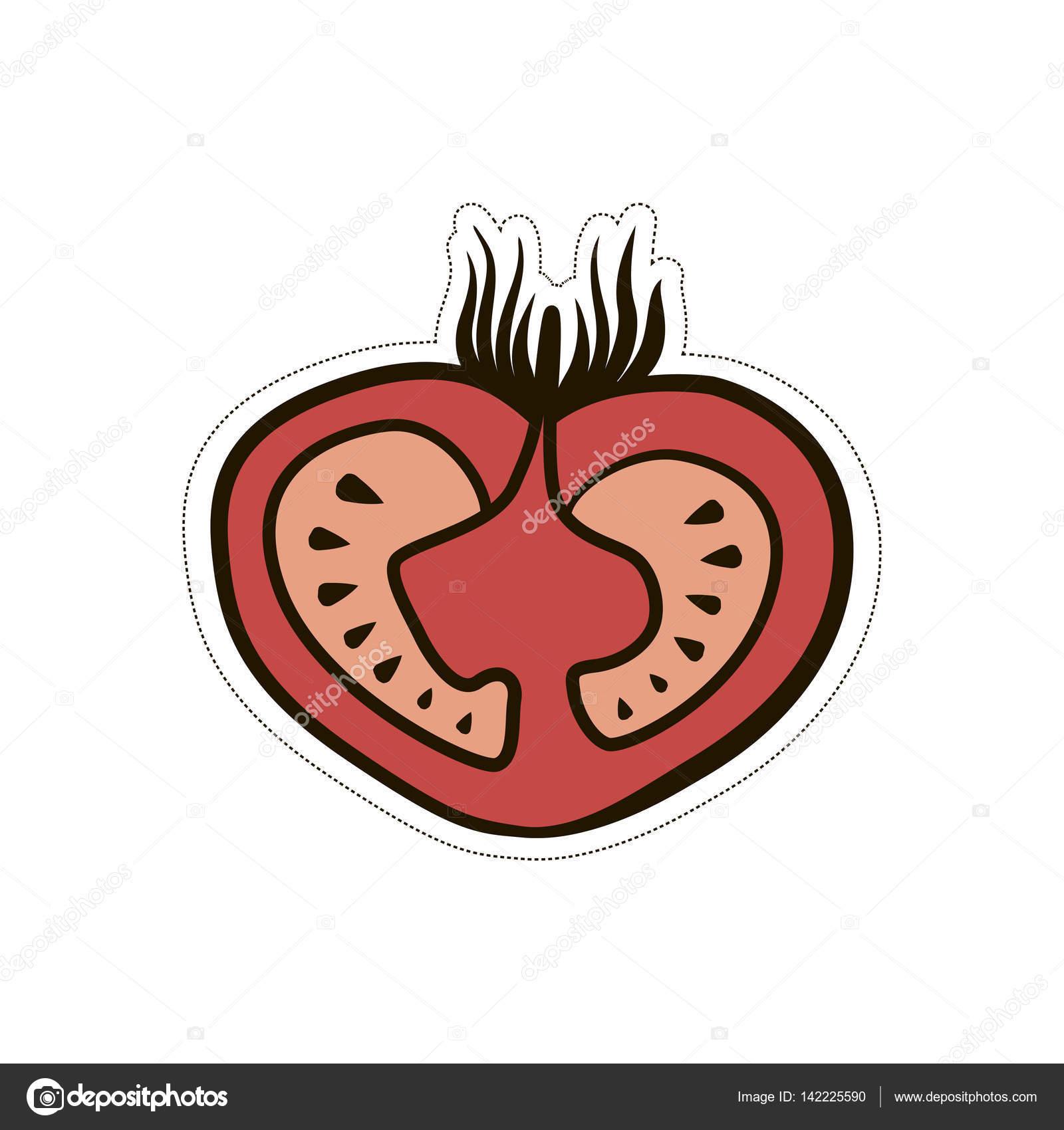 緑豊かなトマト漫画面白いかわいいイラスト ストックベクター
