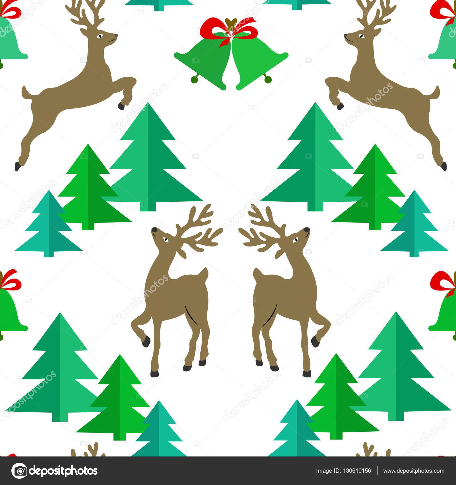Patrón sin fisuras con renos, árboles de Navidad y Navidad campanas ...