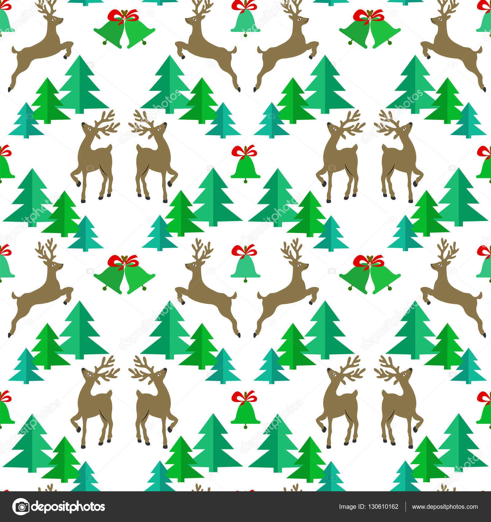 Patrón sin fisuras con renos, árboles de Navidad y Navidad bell ...