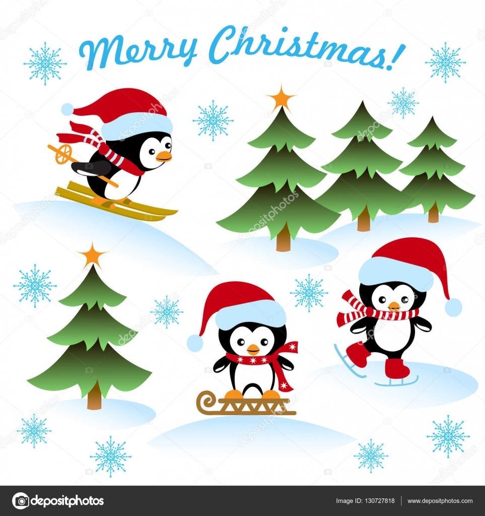 Christmas Card With The Penguins Ice Skating Sledding Skiing