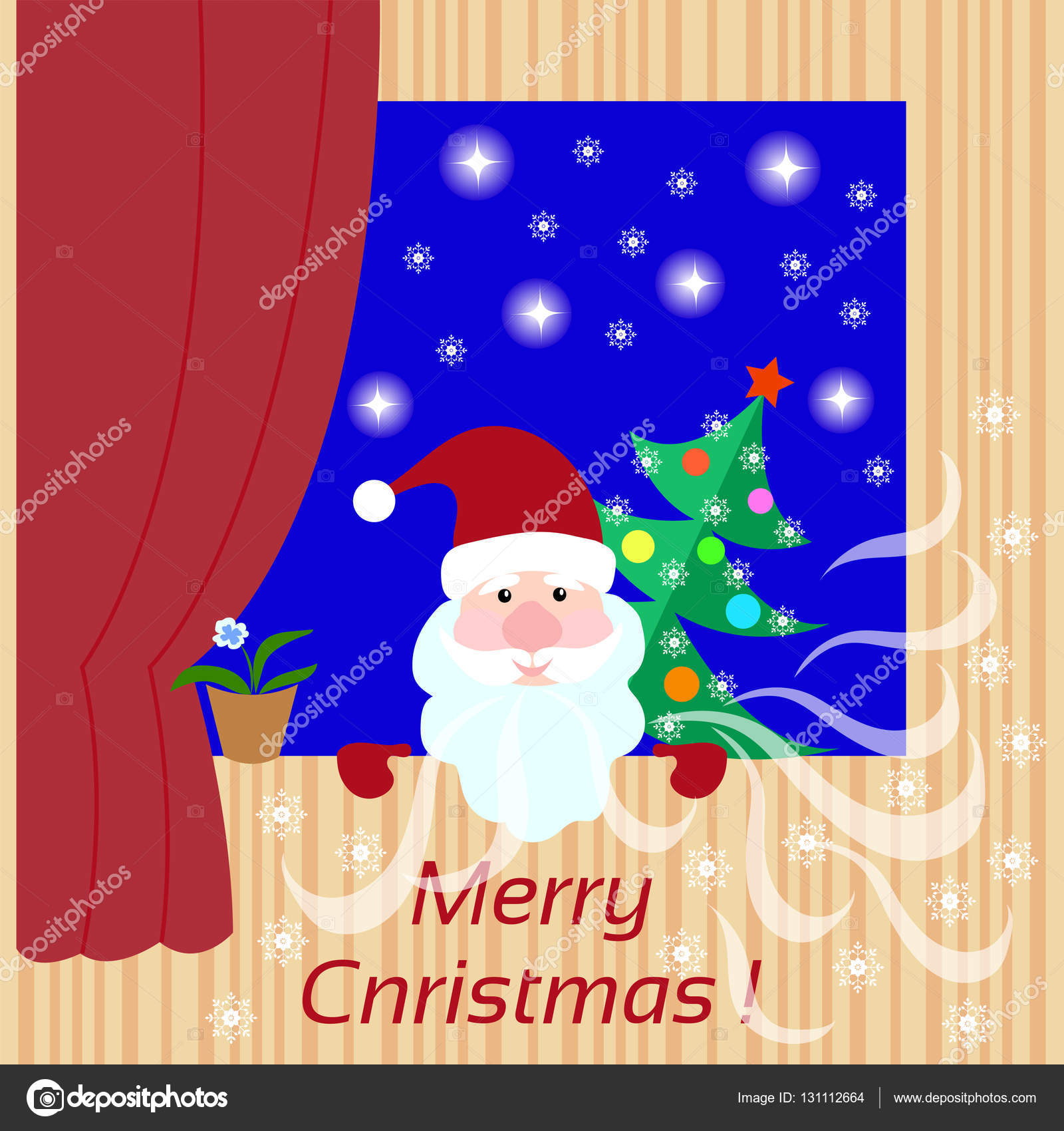 Christmas card with Santa Claus, Christmas tree in the winter window ...