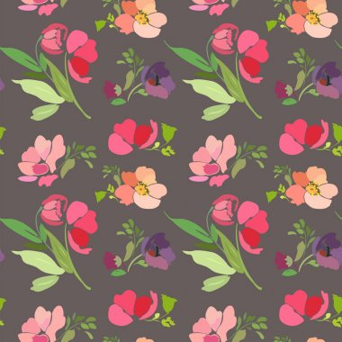 Seamless pattern with abstract flowers and leaves on a gray background.