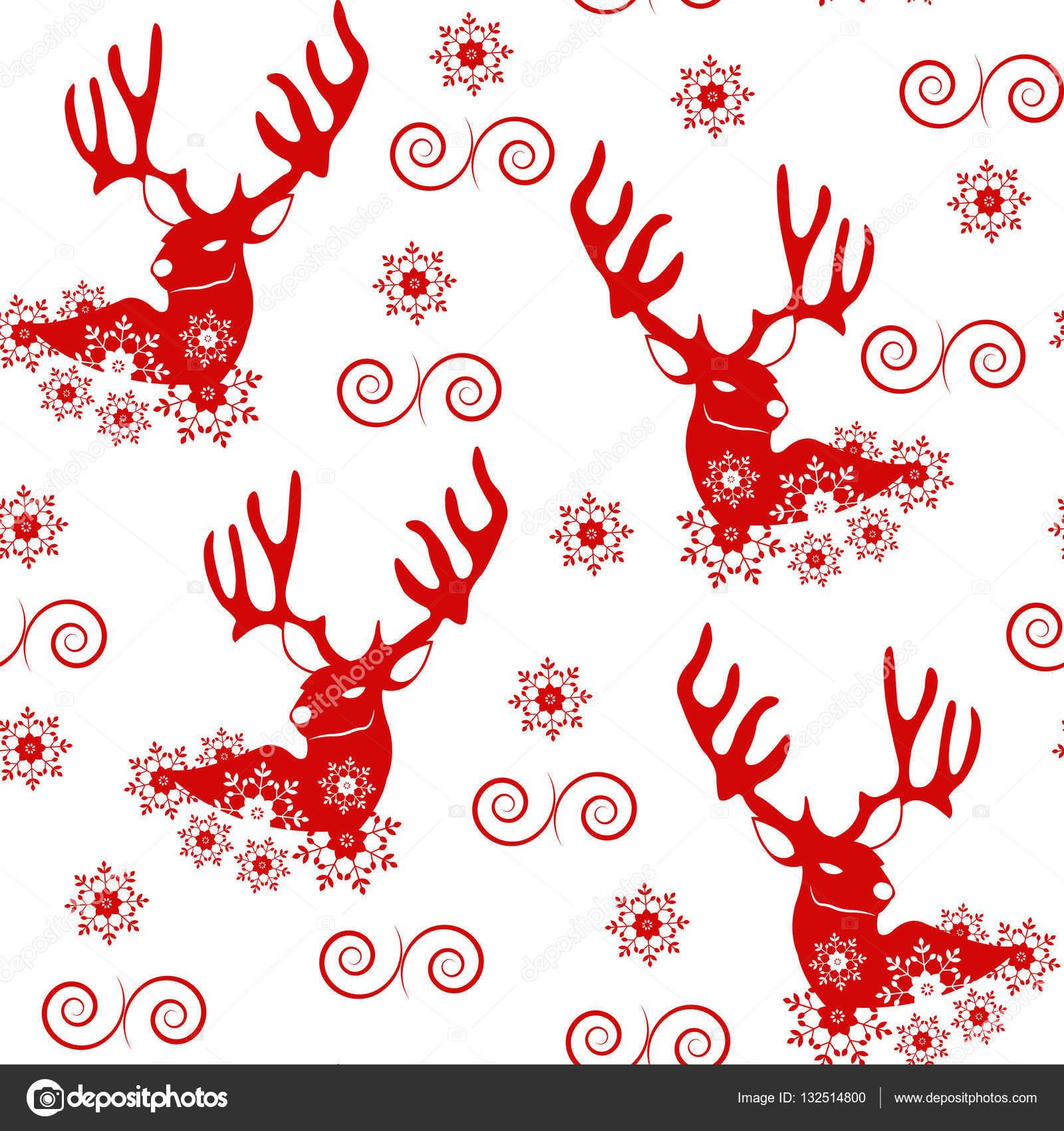 Patrón de Navidad con copos de nieve y Reno — Vector de stock ...