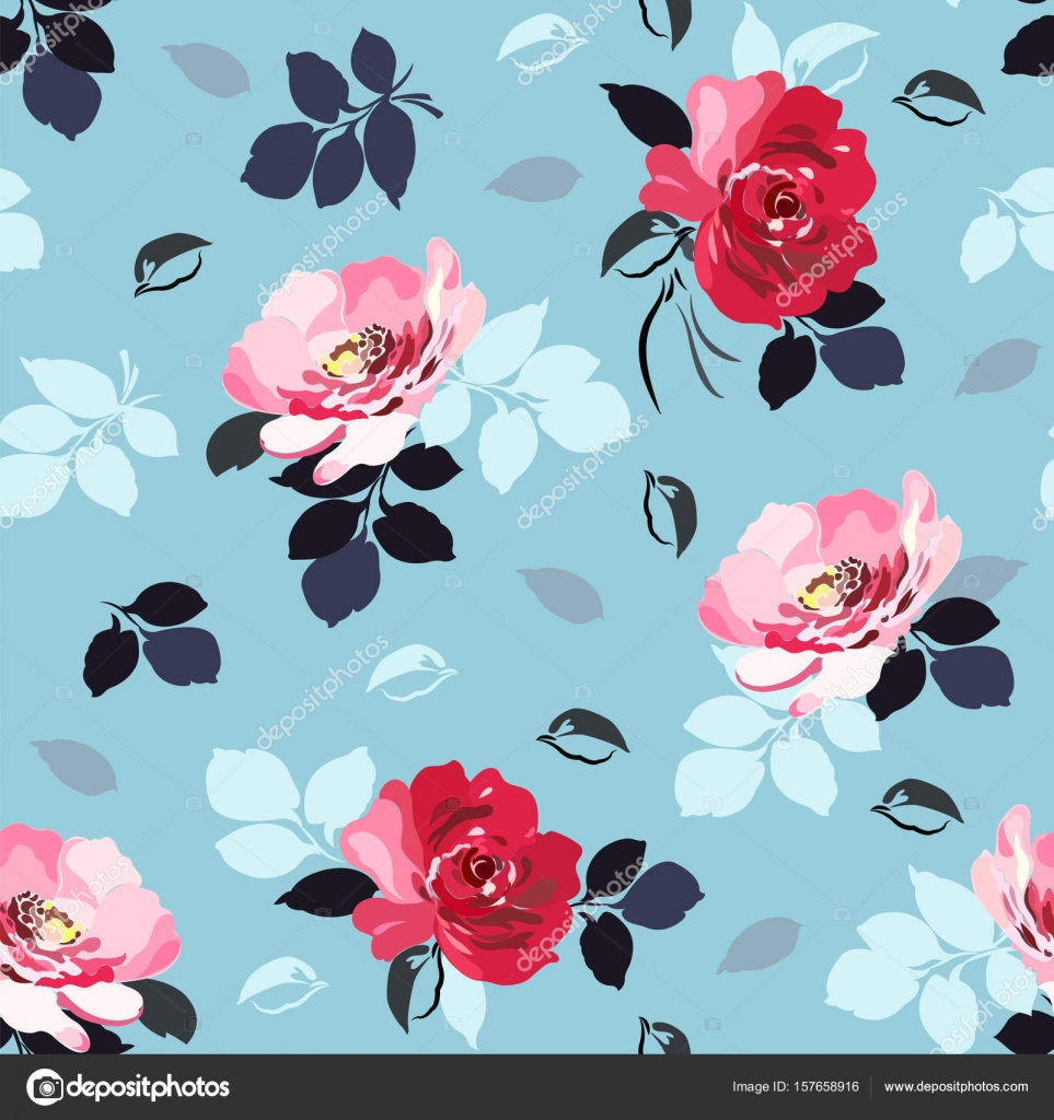 Seamless Floral Pattern With Red And Pink Roses Foliage In Black