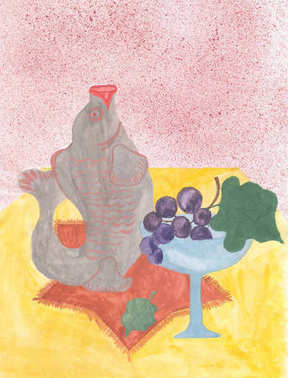 Watercolor still life with fish, glass and grapes on the yellow table