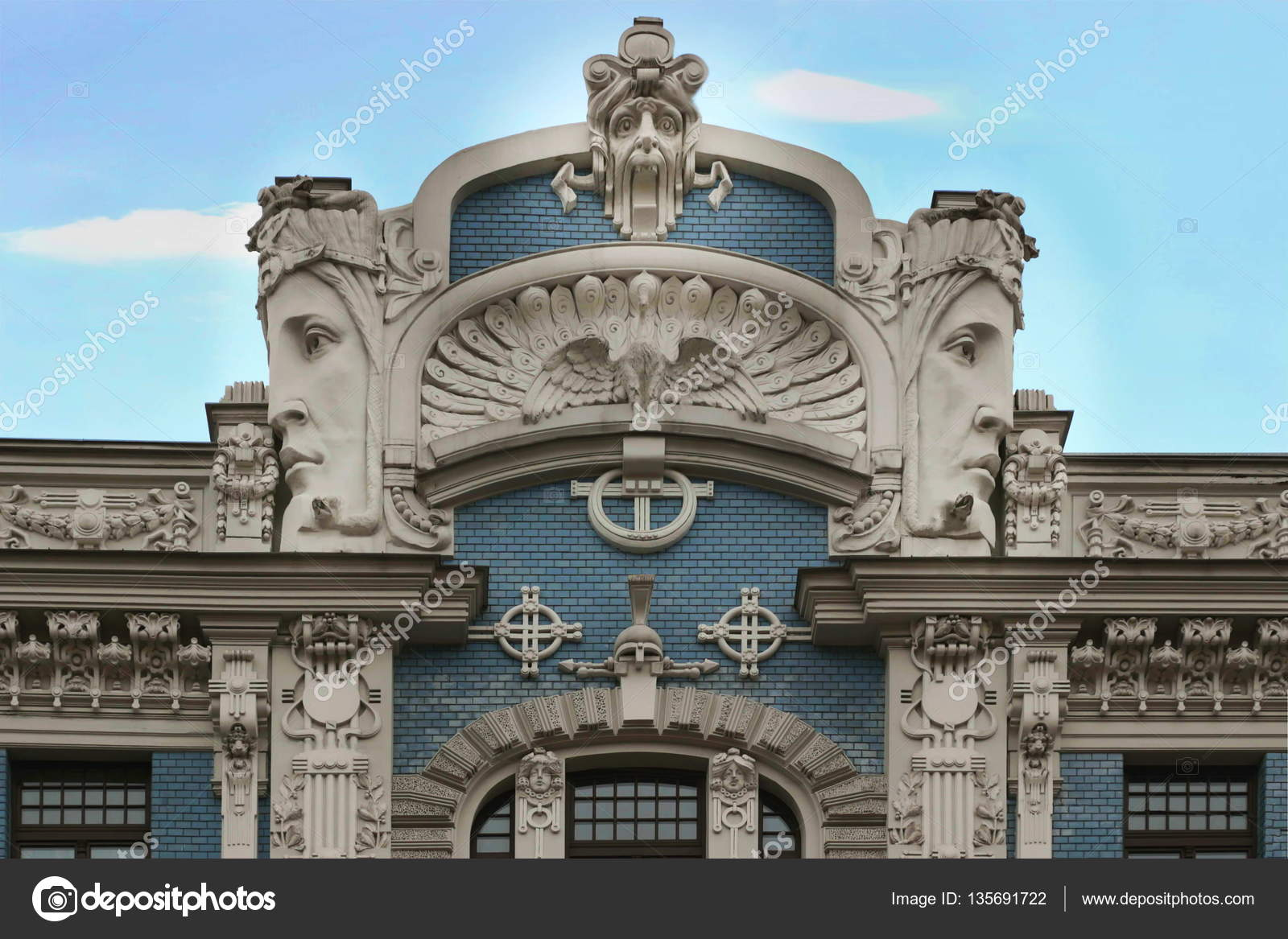 art nouveau building in riga latvia stock photo juriskraulis