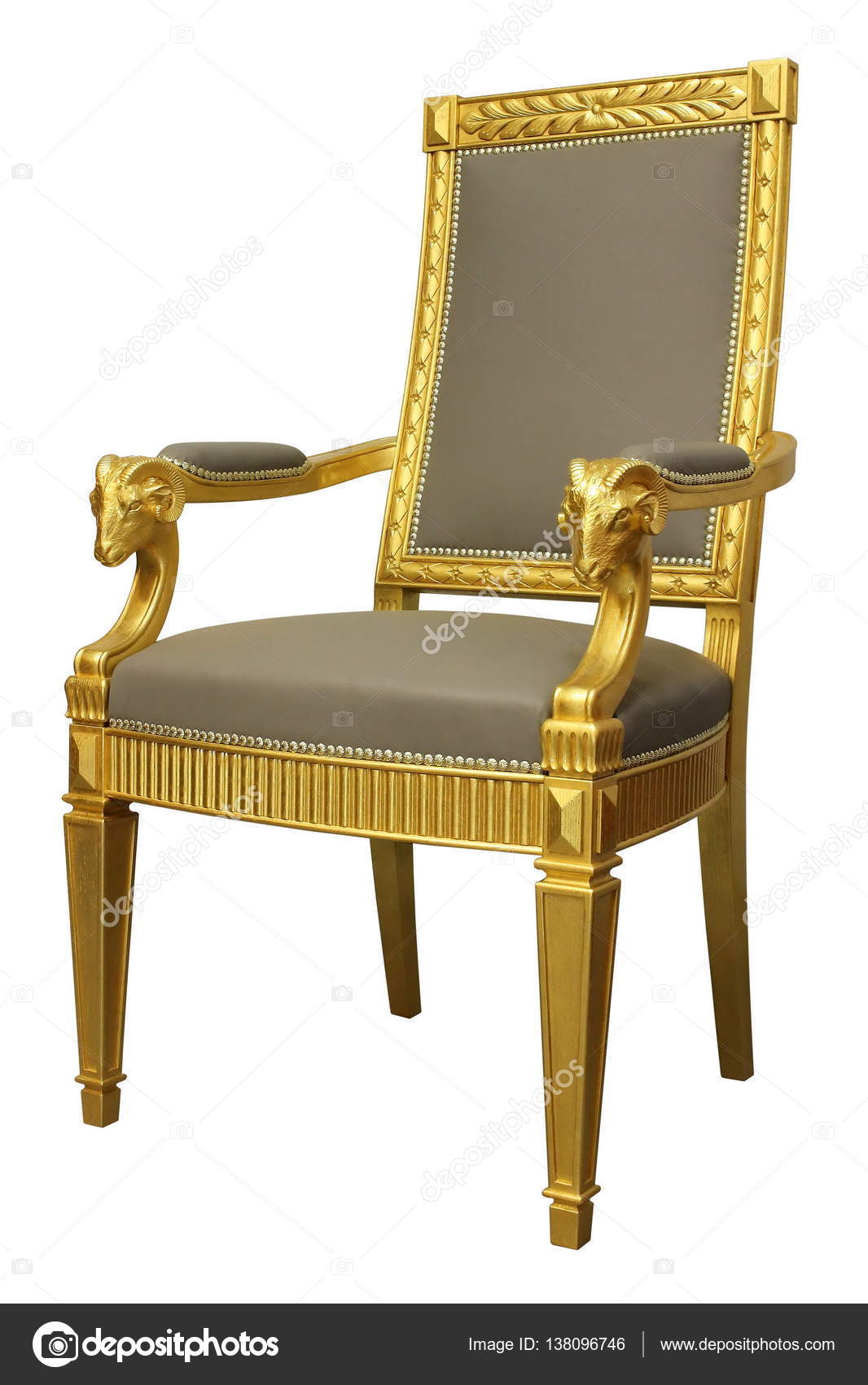 Antique Gold French Style Louis Armchair With Leather U2014 Photo By  Juriskraulis