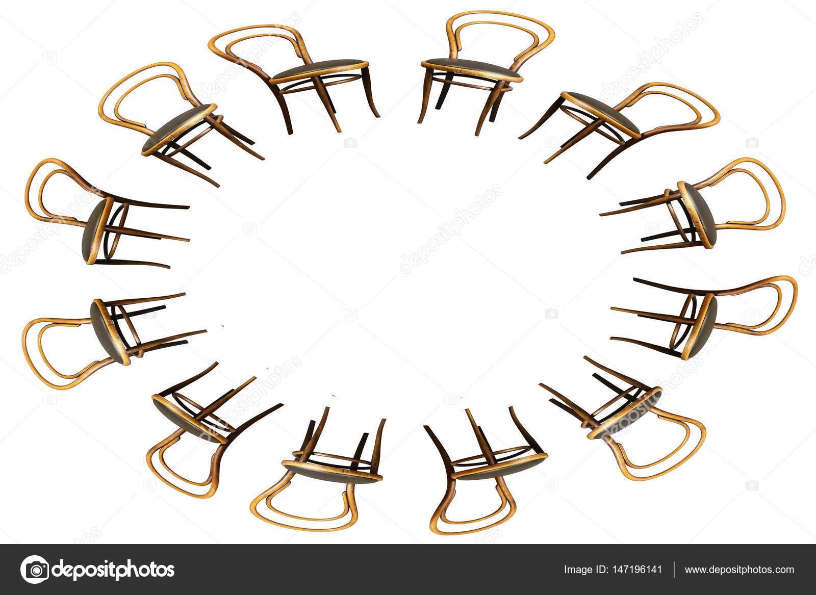 Oval silla de estructura de madera curvada antiguo aislada en blanco ...