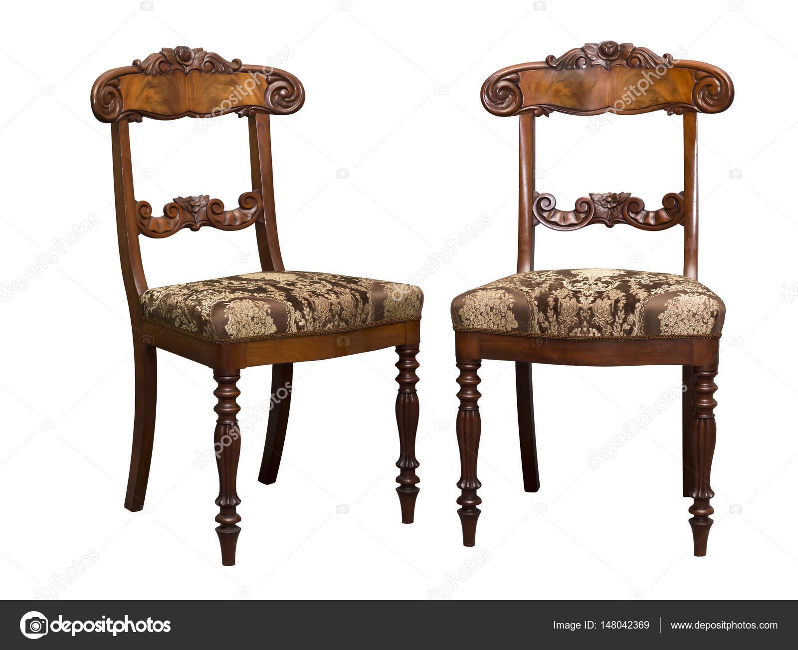 Antike Biedermeier Stuhl Mit Und Holzschnitzerei Stockfoto