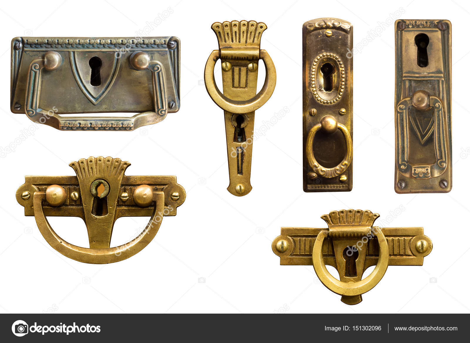 Art Nouveau Furniture Hardware. Antique Handles.