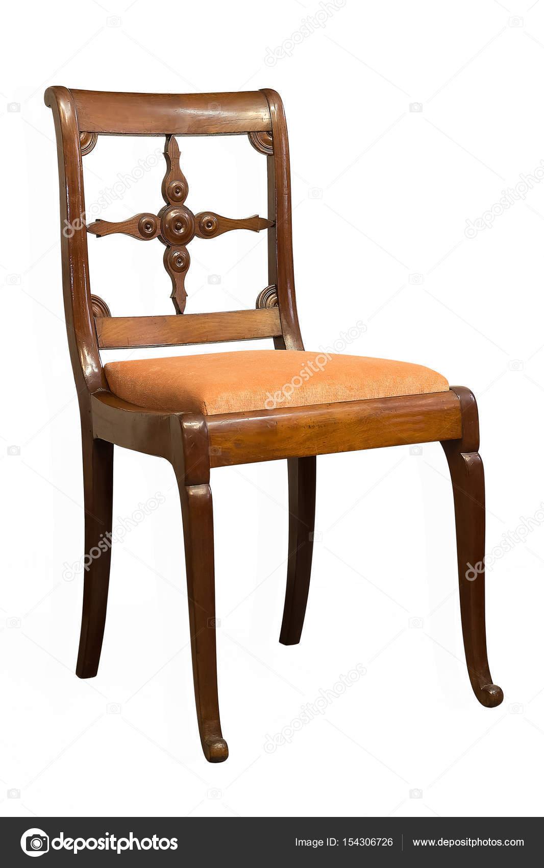 Antike Biedermeier Stuhl Mit Holz Schnitzerei Stockfoto