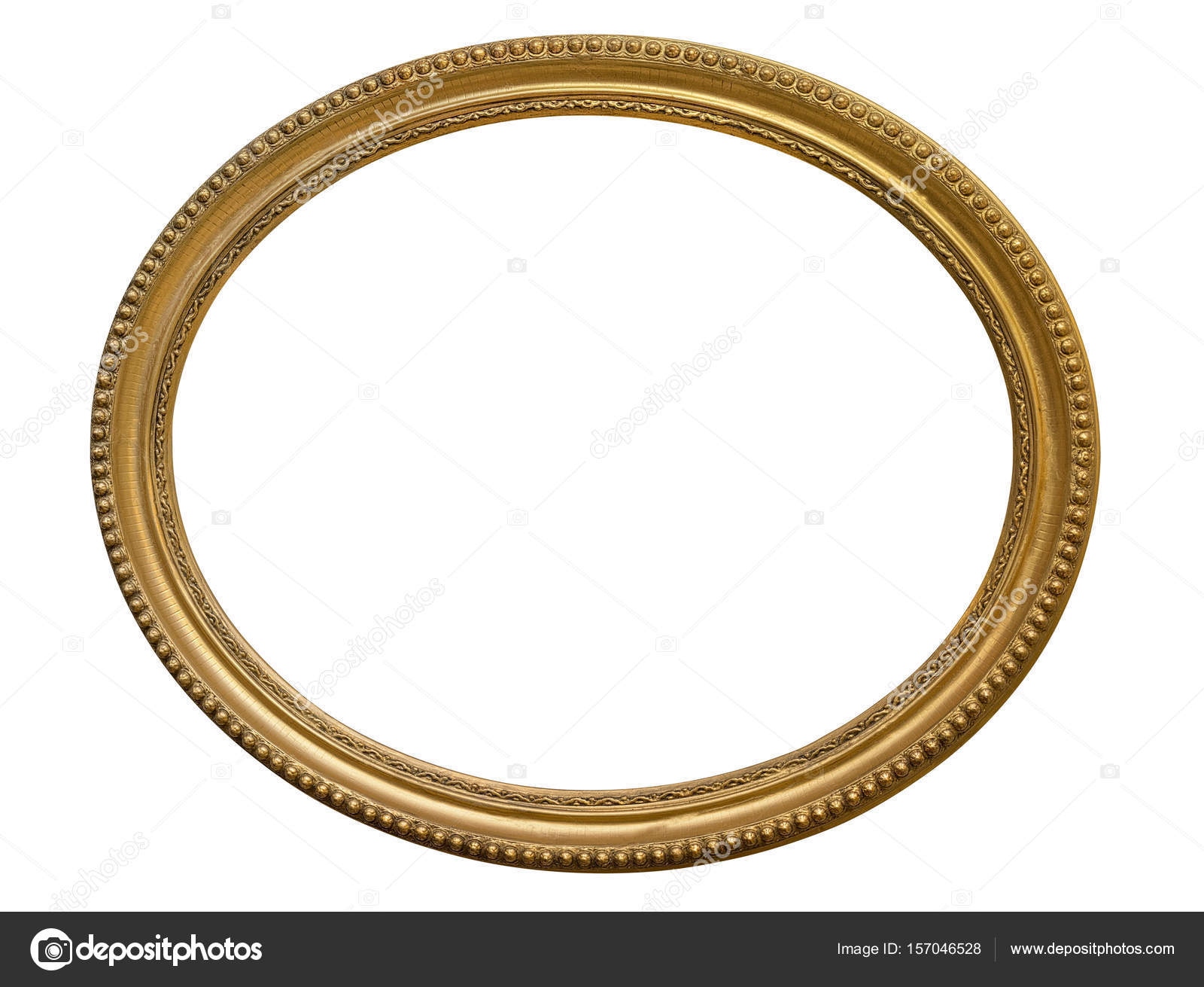 Gold oval picture frame. Isolated over white — Stock Photo ...
