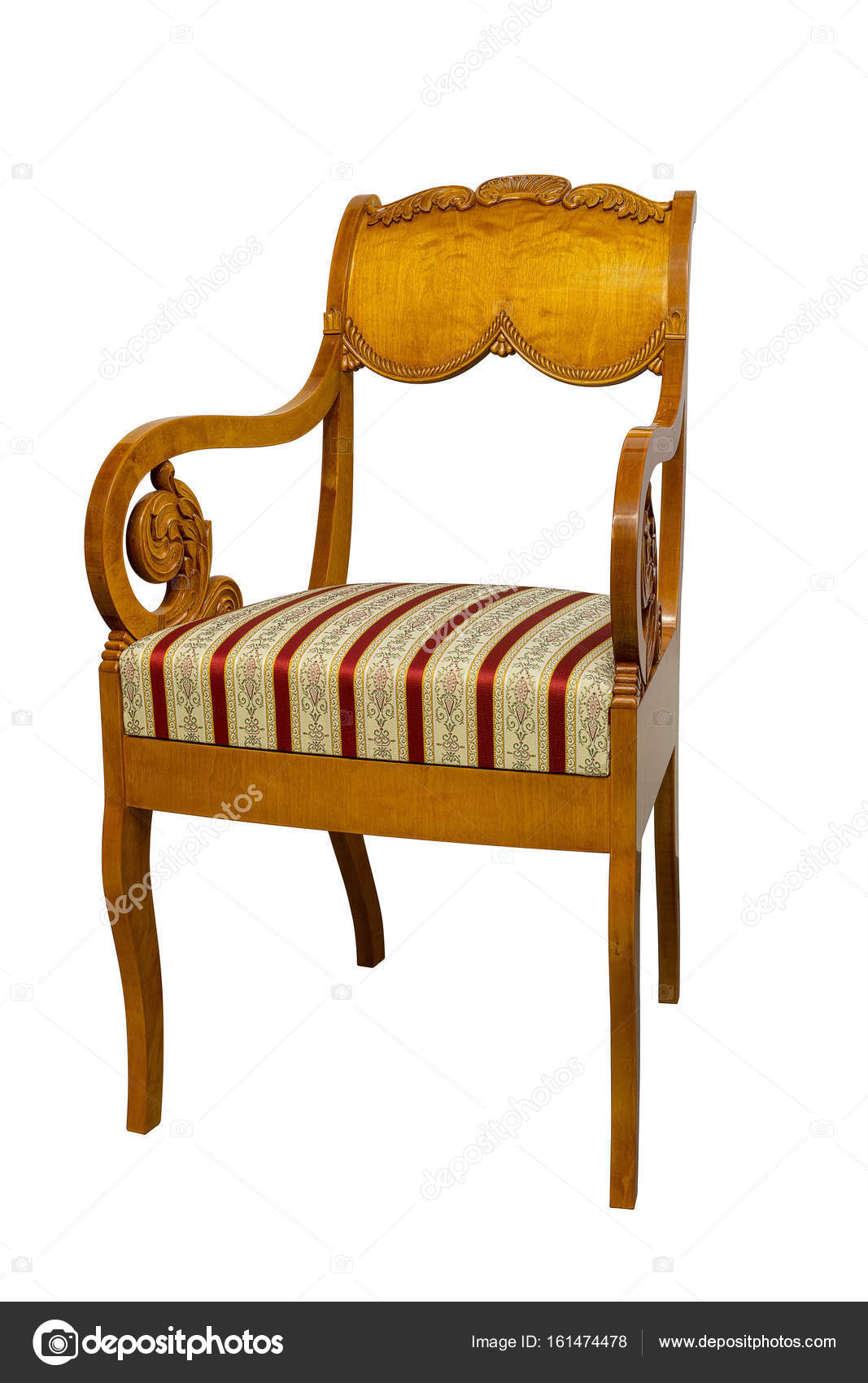 Antique Biedermeier Chair Isolated On White With Authentic Fabric And Wood  Carving U2014 Photo By Juriskraulis