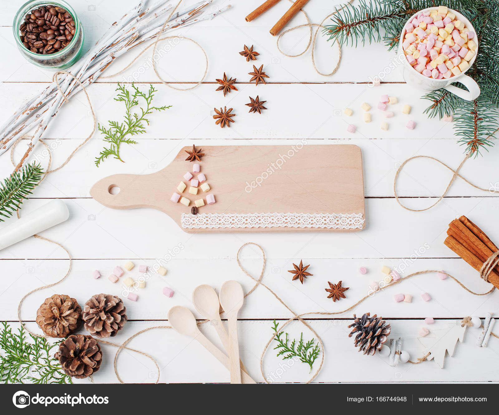 Rahmen Weihnachten Zusammensetzung des Kakaos mit Eibisch, Zimt ...