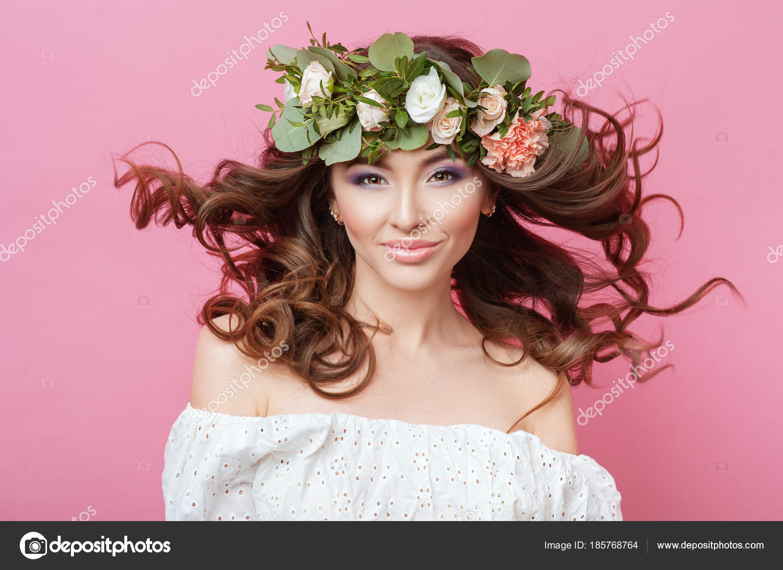 Portrait of beautiful young sexual sensual woman with perfect skin portrait of beautiful young sexual sensual woman with perfect skin make up streaming hair and flowers izmirmasajfo