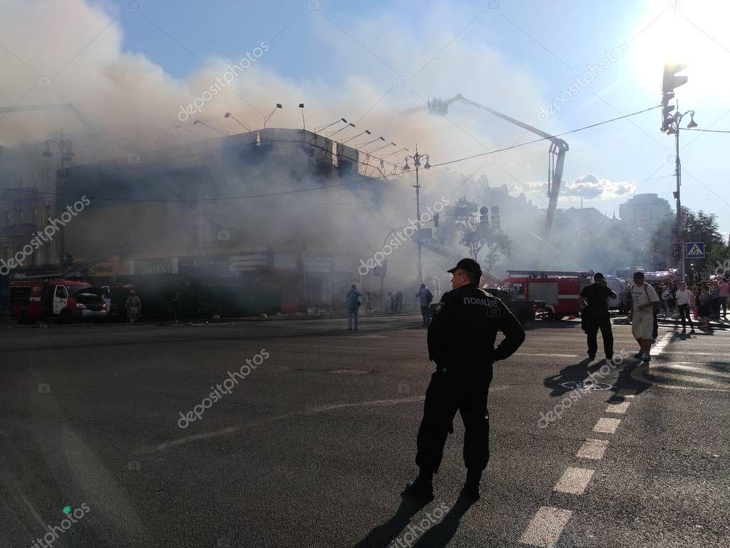 Fire in historic building at Kreschatik Street at Kiev center.
