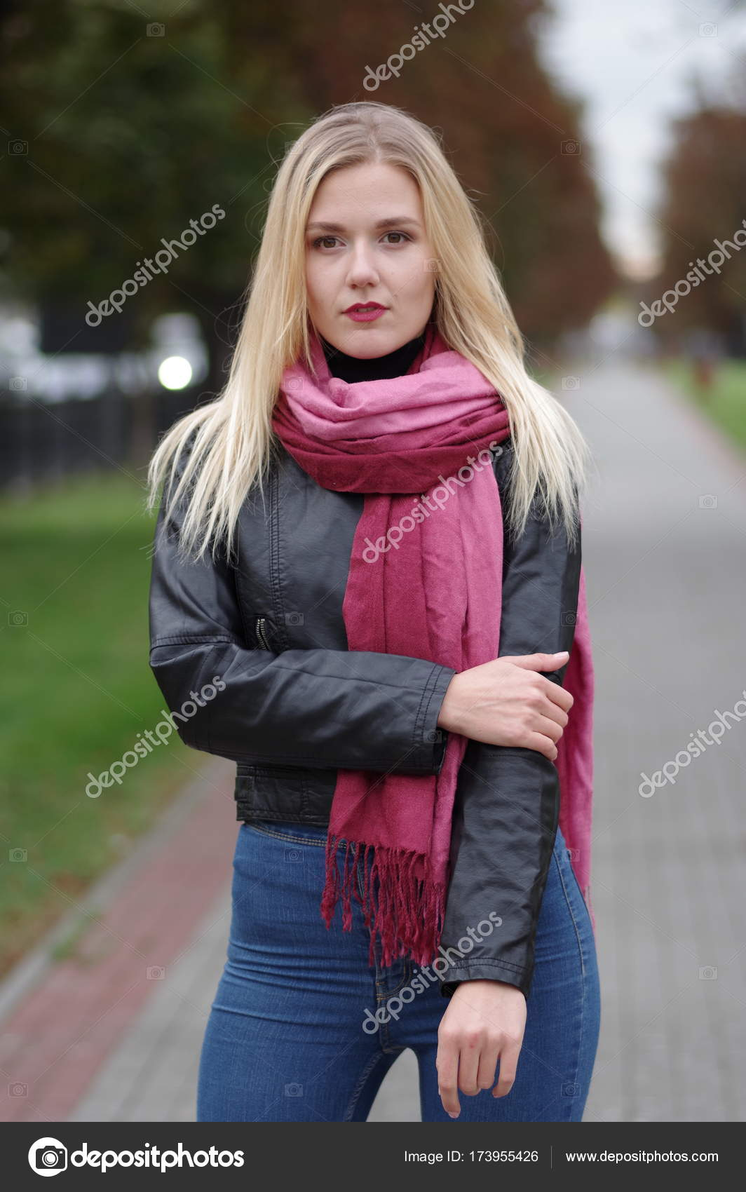 a85a29a08 Beautiful young girl in leather jacket