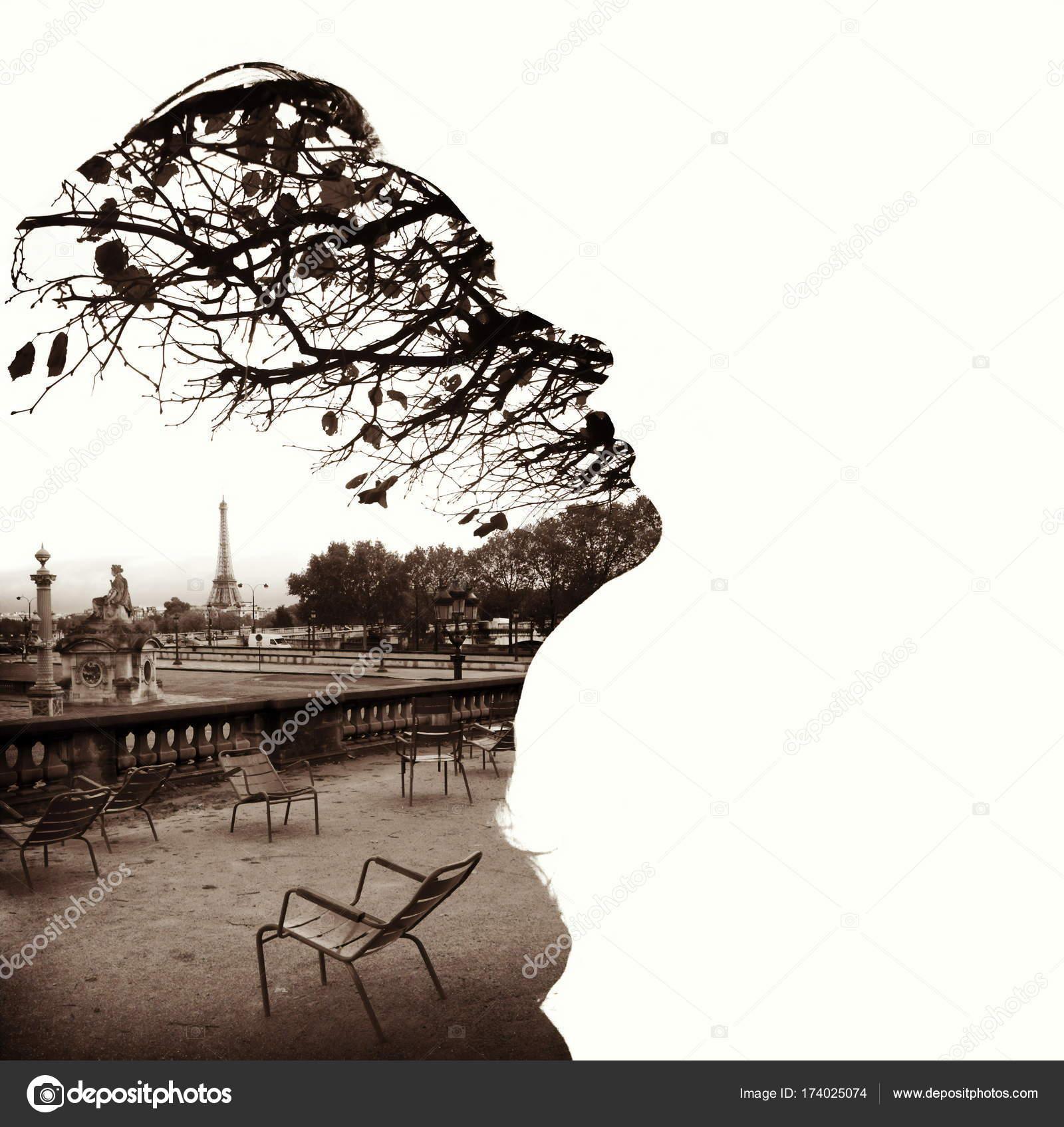 Silhouette of a female head (profile), framing Paris Eiffel Tower ...