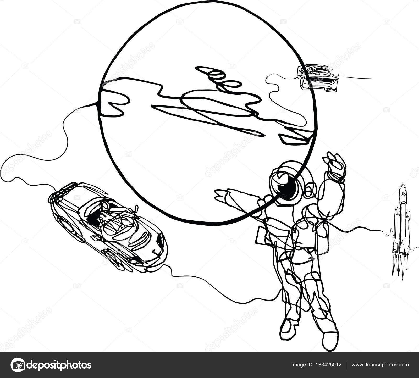 Imágenes Astronauta Para Colorear Planeta La Nave