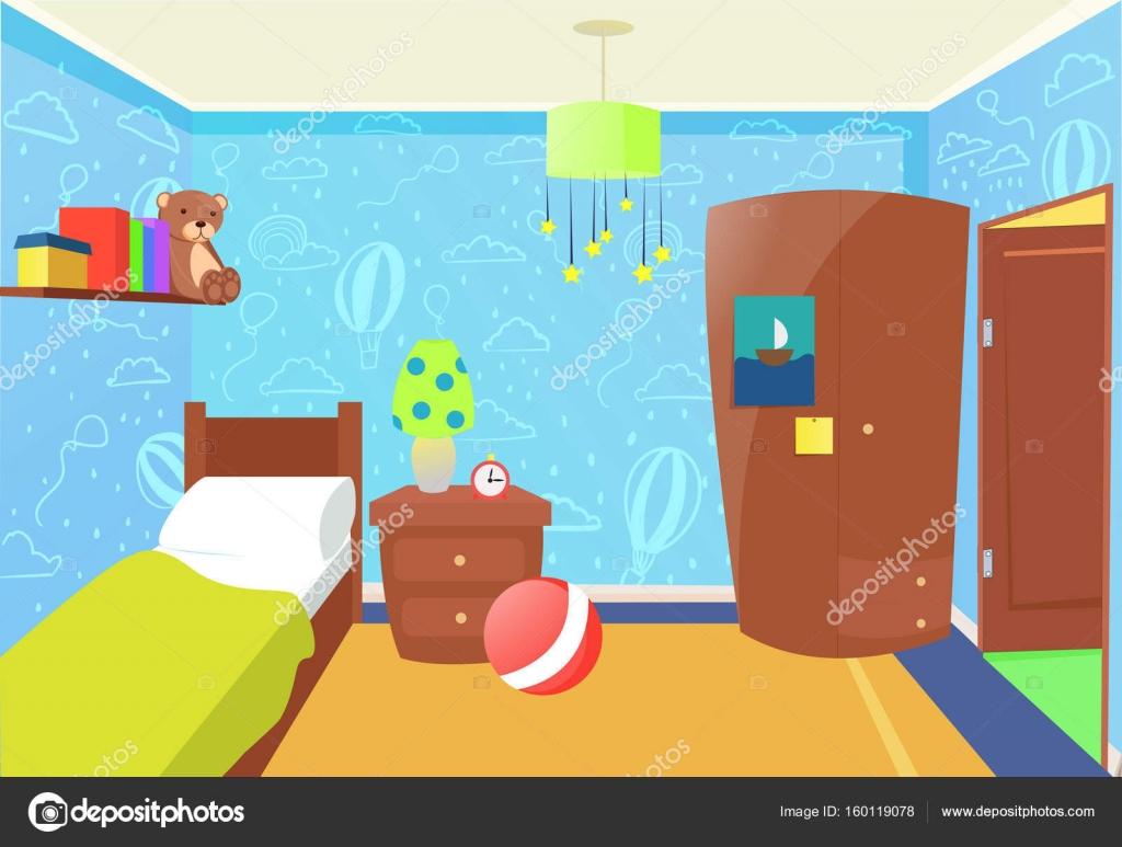 Interno camera da letto bambini — Vettoriali Stock © annetdebar ...