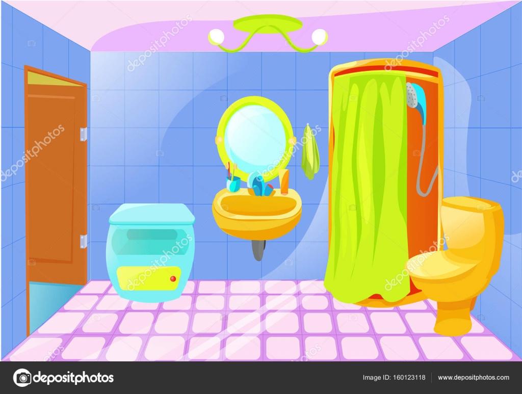 Animado: bathroom   Interior de baño brillante dibujos ...