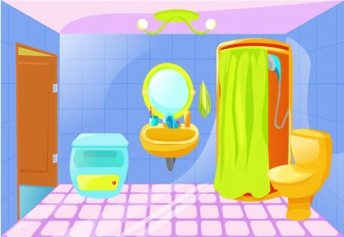 Bright cartoon bathroom interior.