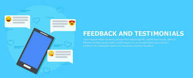 Feedback and testimonials banner. Phone with reviews, emoticons and comments.