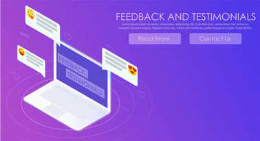 Feedback and testimonials gradient banner. Computer with reviews and emoticons