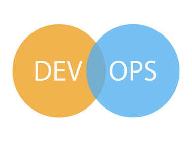 DevOps logotype. Sign of circles with arrows blue