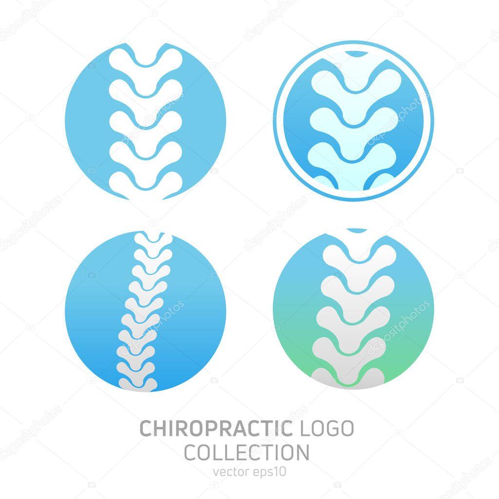 Set Manual therapy logo. Chiropractic and other alternative medicine. Doctor's office, training courses